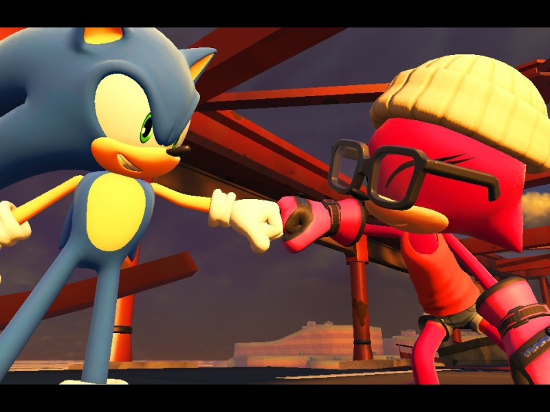 Sonic and the Character's Avatar fist bump in Sonic Forces